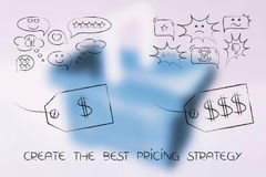 Cheap and luxury price tags with love and hate reactions. Create the best pricing strategy concept: cheap and luxury price tags with love and hate reactions by Stock Image