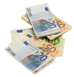Cheap-Money-Euro-European currency Royalty Free Stock Image