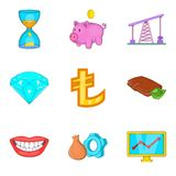Cheap money icons set, cartoon style. Cheap money icons set. Cartoon set of 9 cheap money vector icons for web isolated on white background Stock Photo