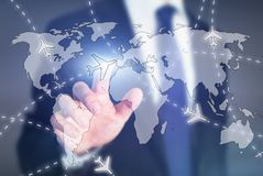 Cheap plane tickets, choose travel destination online concept, airplane on the world map. On touch screen Stock Image