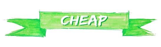 Cheap ribbon. Cheap hand painted ribbon sign vector illustration