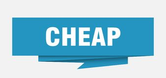 Cheap. Sign.  paper origami speech bubble.  tag.  banner stock illustration