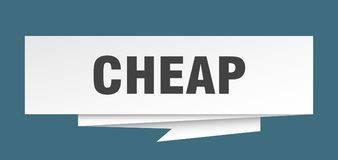 Cheap. Sign.  paper origami speech bubble.  tag.  banner royalty free illustration