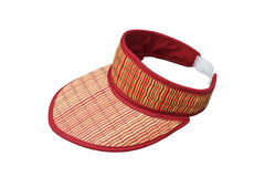 Cheap summer hat made of straw on white background,this have cli Royalty Free Stock Image