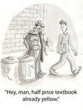 Cheap textbooks. Shady character sells cheap textbooks vector illustration