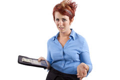 Cheap Tips. Waitress collecting her check / tip / or gratuity Royalty Free Stock Image