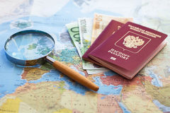Cheap travel on budget. Cheap trip, searching for low coast travel Royalty Free Stock Photography