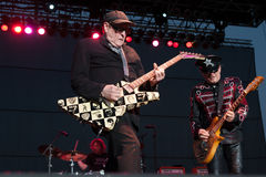 Cheap Trick. LINCOLN, CA – June 7: Rick Nielsen with Cheap Trick performs at Thunder Valley Casino Resort in Lincoln, California on June 7, 2013 royalty free stock photos