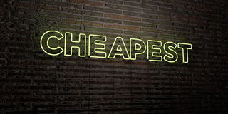 CHEAPEST -Realistic Neon Sign on Brick Wall background - 3D rendered royalty free stock image Stock Photography