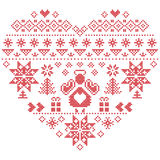 CHeart shape Christmas  pattern with angel on white background. Heart Shape Scandinavian Printed Textile  style and inspired by  Norwegian Christmas and festive Royalty Free Stock Photography