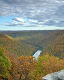 Cheat River Gorge from Cooper's Rock West Virginia. The Cheat River flows the the Cheat River gorge as seen from the Cooper's Rock State forest overlook in Stock Photography
