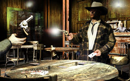 The cheater. Interior of a western saloon. A cowboy that  who discovered that his opponent has cheated in the game, exposes his revolver and shoots him Stock Image