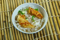 Cheater Pho. Homemade  Asian Noodle Soup, close up royalty free stock image