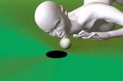 Cheating at golf 3d render. Futuristuc woman cheating at golf 3d render Royalty Free Stock Photo