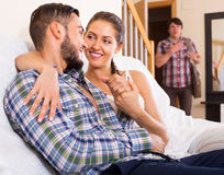 Cheating partner coming home. In wrong moment Royalty Free Stock Photo