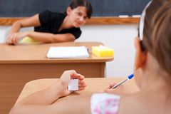 Cheating student Stock Image