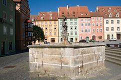 Cheb, Czech republic. Historic houses and fountain in the square Jiriho z Podebrad in Cheb, west Bohemia, Czech republic royalty free stock photography