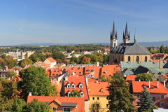 Cheb panorama. The panorama of Cheb dominated by St. Nicholas church, Czech Republic Royalty Free Stock Photo
