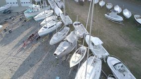 Chebeague Island, Maine - 20181006 - Aerial Drone - Fly Forward Over Dry Dock Boats. stock video footage