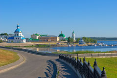 Cheboksary, Chuvash Republic, Russian Federation. Cheboksary, the views of the Assumption Church and the Holy Trinity Monastery royalty free stock photography