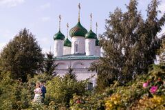 Cheboksary/Russia-10.09.2019:The young couple in front of the church
