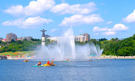 Cheboksary, Russian Federation. Sight of the town of Cheboksary - Bay City, and a statue of Mother stock photography