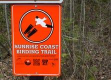 Sunrise Coast Birding Trail In Michigan. Cheboygan, Michigan, USA - May 9, 2015: Sign for the Sunrise Coast Birding Trail. The trail follow the migratory path of royalty free stock photo