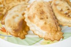 Cheburek, pasto, spuntino, pasticceria, alimento, mangiante, piatto, torta, aperitivo Immagini Stock