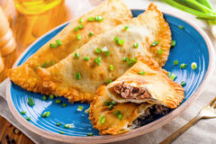 Chebureki on a plate, meat pastry. Royalty Free Stock Images