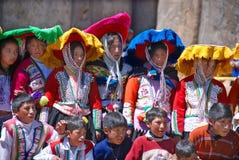 Checaspampa传统衣物的孩子 图库摄影