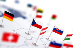 Chech flag in the focus. Europe map with countries flags Stock Photo