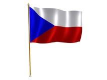 Chech Republik-Seidemarkierungsfahne stock abbildung