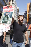 Chechen protest in Istanbul,Turkey. Istanbul-Turkey-September 24,2011 Royalty Free Stock Photo