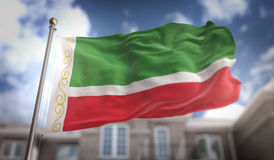 Chechen Republic Flag 3D Rendering on Blue Sky Building Backgrou Royalty Free Stock Photography