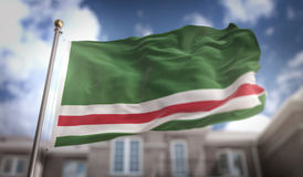 Chechen Republic of Ichkeria  Flag 3D Rendering on Blue Sky Buil Royalty Free Stock Photo