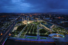 Chechnya, Grozny night. Chechnya, Grozny at night, the view of the mosque, night city from height of bird`s flight Stock Photos