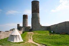 Checiny城堡 三个塔 库存图片
