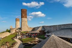 Old historic ruins of the royal castle. A stronghold from middle ages in central Europe. Checiny, swietokrzyskie / Poland - May, 1, 2019: Old historic ruins of royalty free stock image