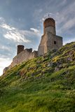 Old historic ruins of the royal castle. A stronghold from middle ages in central Europe. Checiny, swietokrzyskie / Poland - May, 1, 2019: Old historic ruins of stock images