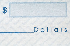 Check. Closeup of a personal check - dollar sign and space for the amount Royalty Free Stock Photos