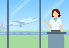 Check-in at the airport. Boarding the plane. Vector Royalty Free Stock Image