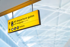 Check in, Airport Departure & Arrival information board sign Stock Photography