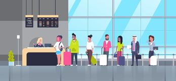 Check In Airport Group Of Mix Race Passengers Standing In Queue To Counter, Departures Board Concept Stock Image