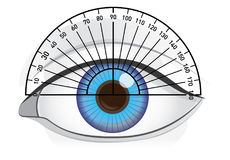 Check angles of blue eye with protractor. Royalty Free Stock Photo