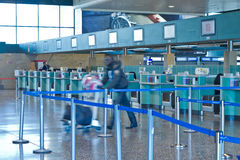 Check-in area in the airport. People in the check-in area in the Milan Malpensa airport, Italy Stock Images