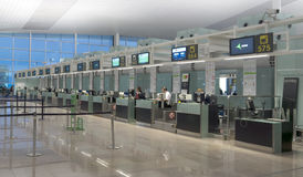 Check-in area of a Barcelona airport Royalty Free Stock Photos