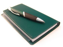 Check book with pen Stock Image