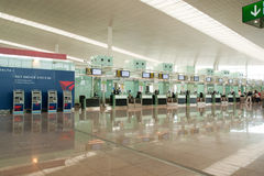 Check-in booth Barcelona airport royalty free stock photo