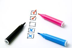 Check box. Check list and color markers on white background Royalty Free Stock Photography