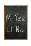 Check the box. For the answer yes or no on the blackboard Stock Photos